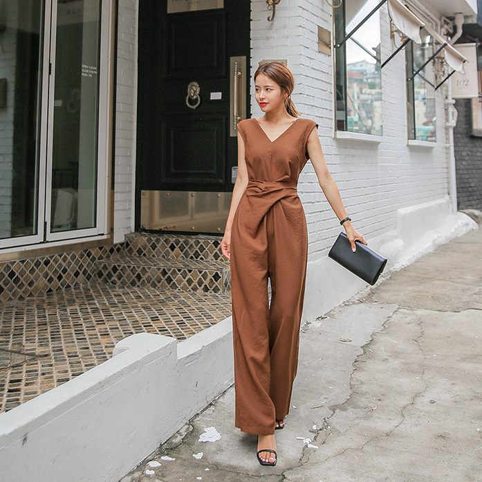 Dabagirl V-Neck Twist Jumpsuit