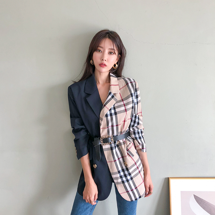 Dabagirl Contrast Color Loose Fit Blazer