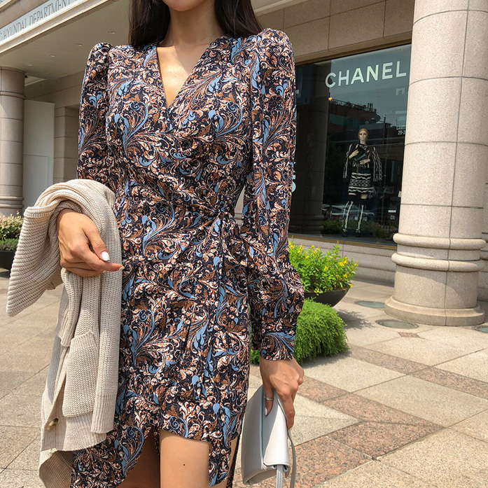 Dabagirl V-Neck Paisley Print Wrap Dress