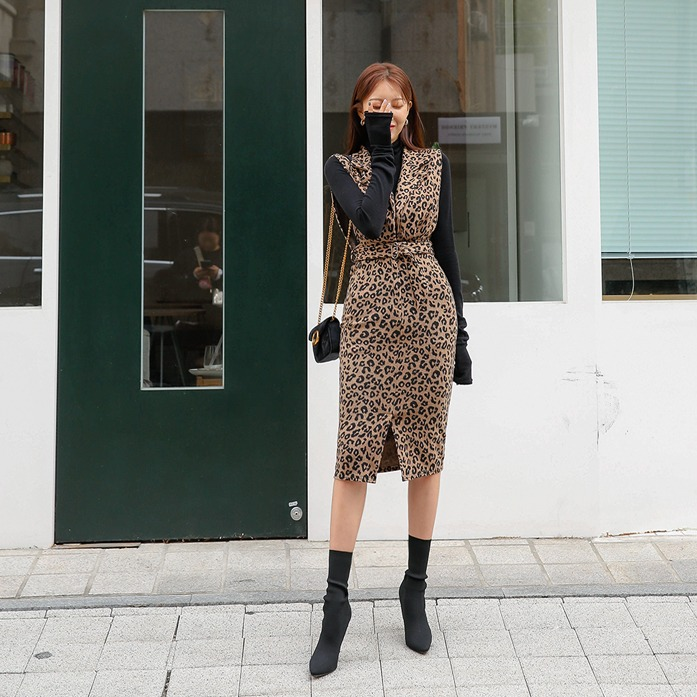 Dabagirl Belted Leopard Print Dress
