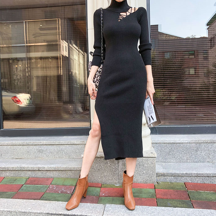 Dabagirl Slit Hem Turtleneck Dress