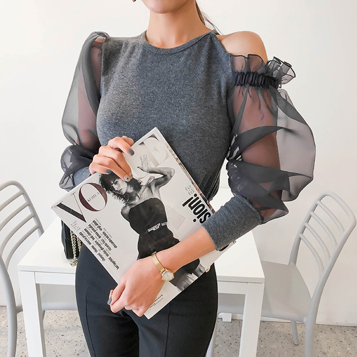Dabagirl Cutout Shoulder Chiffon Contrast Top