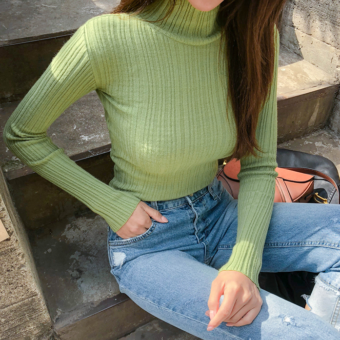 Dabagirl Turtleneck Ribbed Knit Top