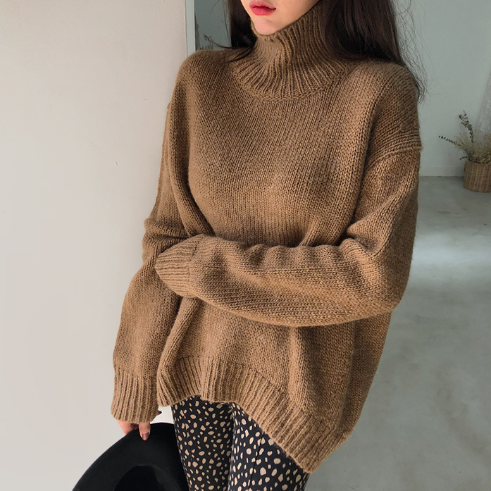 Dabagirl Drop Shoulder Turtleneck Knit Top