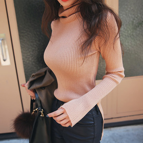 Dabagirl Roll Neck Ribbed Slim Top