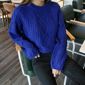 Dabagirl Damaged Twist Knit Loose Pullover