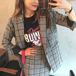Dabagirl Glen Plaid Check Blazer