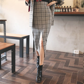 Dabagirl Glen Plaid Straight Slit Skirt