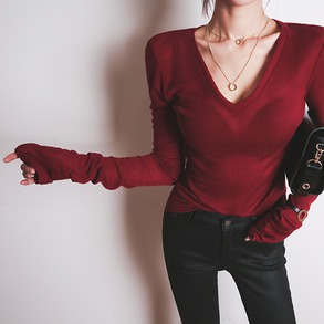 Dabagirl Sheer V-Neck Knit Shirt