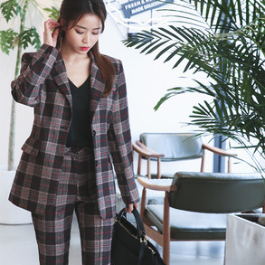 Dabagirl Mixed Check Single-Breasted Blazer