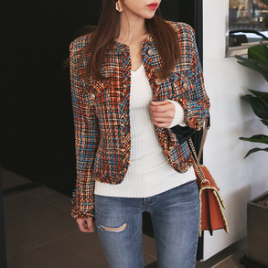 Dabagirl Check Button-Front Tweed Jacket