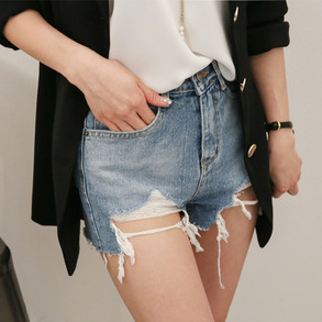 Dabagirl High-Rise Ripped Hem Denim Shorts