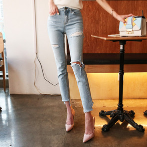 Dabagirl Distressed Whisker-Washed Slim Jeans