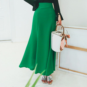 Dabagirl Flared Solid-Tone Long Skirt