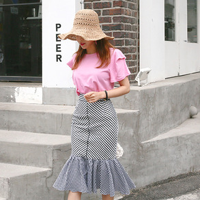 Dabagirl Gingham Check Midi Mermaid Skirt