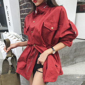 Dabagirl Drawstring Waist Snap Button Utility Jacket