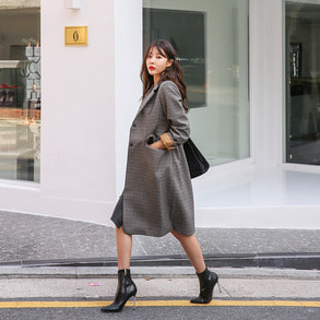 Dabagirl Single Breasted Check Knee Length Coat