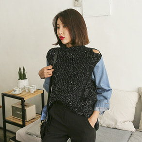 Dabagirl Cutout Detail Mock Neck Denim Sleeve Knit Top