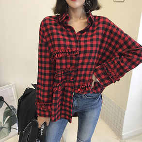 Dabagirl Frilled Check Shirt