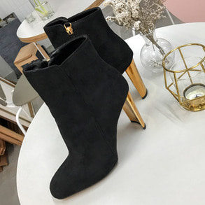 Dabagirl Gold Heel Zip Up Ankle Boots