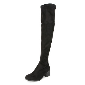 Dabagirl Faux Leather Mid Heeled Long Boots