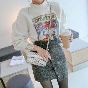 Dabagirl Mock Neck Lace Cuff Graphic Print Sweatshirt