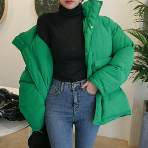 Dabagirl Stand Collar Loose Fit Puffer Jacket