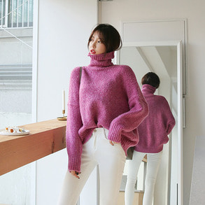 Dabagirl Turtleneck Drop Shoulder Loose Fit Knit Top