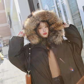 Dabagirl Authentic Raccoon Fur Hooded Side Slit Puffer Coat