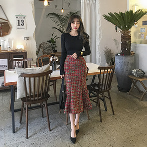 Dabagirl High Waist Flare Hem Tweed Skirt