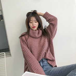 Dabagirl Eyelet Trim Oversized Turtleneck Sweater