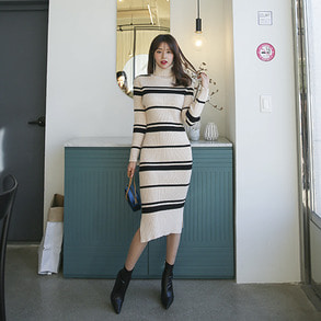Dabagirl Turtleneck Side Slit Stripe Knit Dress