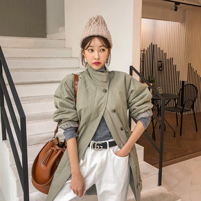 Dabagirl Stand Collar Loose Fit Utility Coat