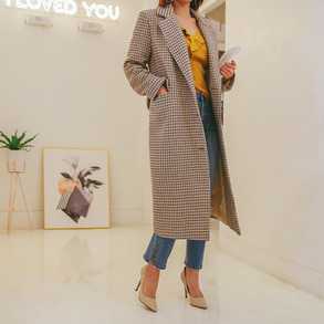 Dabagirl Single Breasted Check Coat