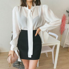 Dabagirl Tie-Neck Puff Shoulder Blouse