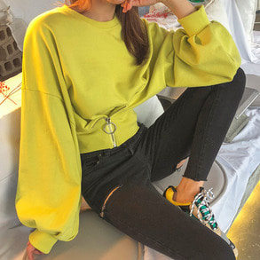 Dabagirl Drop Shoulder Puff Sleeve Sweatshirt