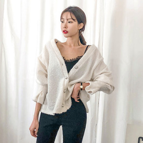 Dabagirl Faux Pearl Button Smock Sleeve Cardigan