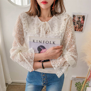 Dabagirl Ribbon Tie Lace Blouse
