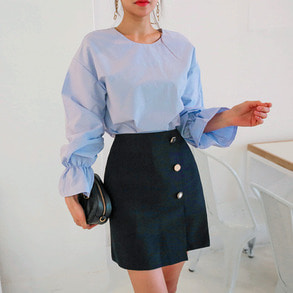 Dabagirl Round Neck Frilled Sleeve Blouse