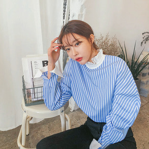 Dabagirl Frilled Neck Stripe Shirt