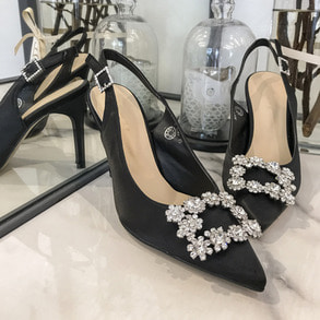 Dabagirl Rhinestone Embellished Pointed Toe Slingback Pumps