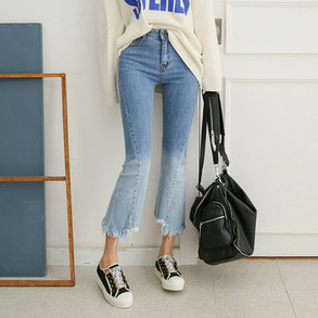 Dabagirl Frayed Hem Two Tone Jeans