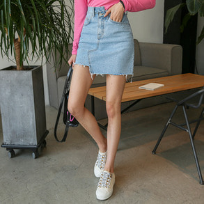Dabagirl Asymmetrical Hem Denim Skirt