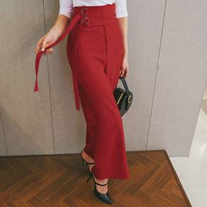Dabagirl Buckled Waist Wide Leg Slacks