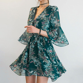Dabagirl Tie-Waist Floral Wrap Dress