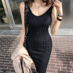 Dabagirl Slim Fit Ribbed Sleeveless Dress