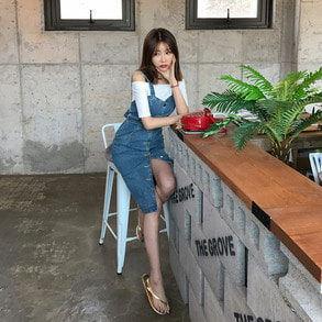 Dabagirl Button-Up Sleeveless Denim Dress