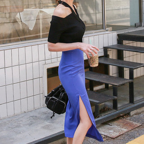 Dabagirl Solid Color Midi Slit Skirt
