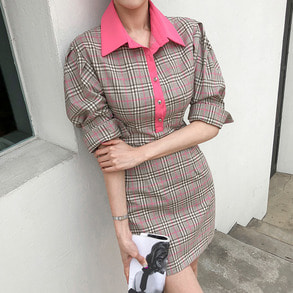 Dabagirl Contrast Collar Check Dress