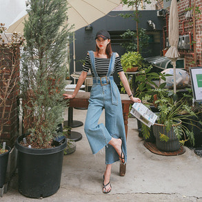 Dabagirl Belted Denim Jumpsuit